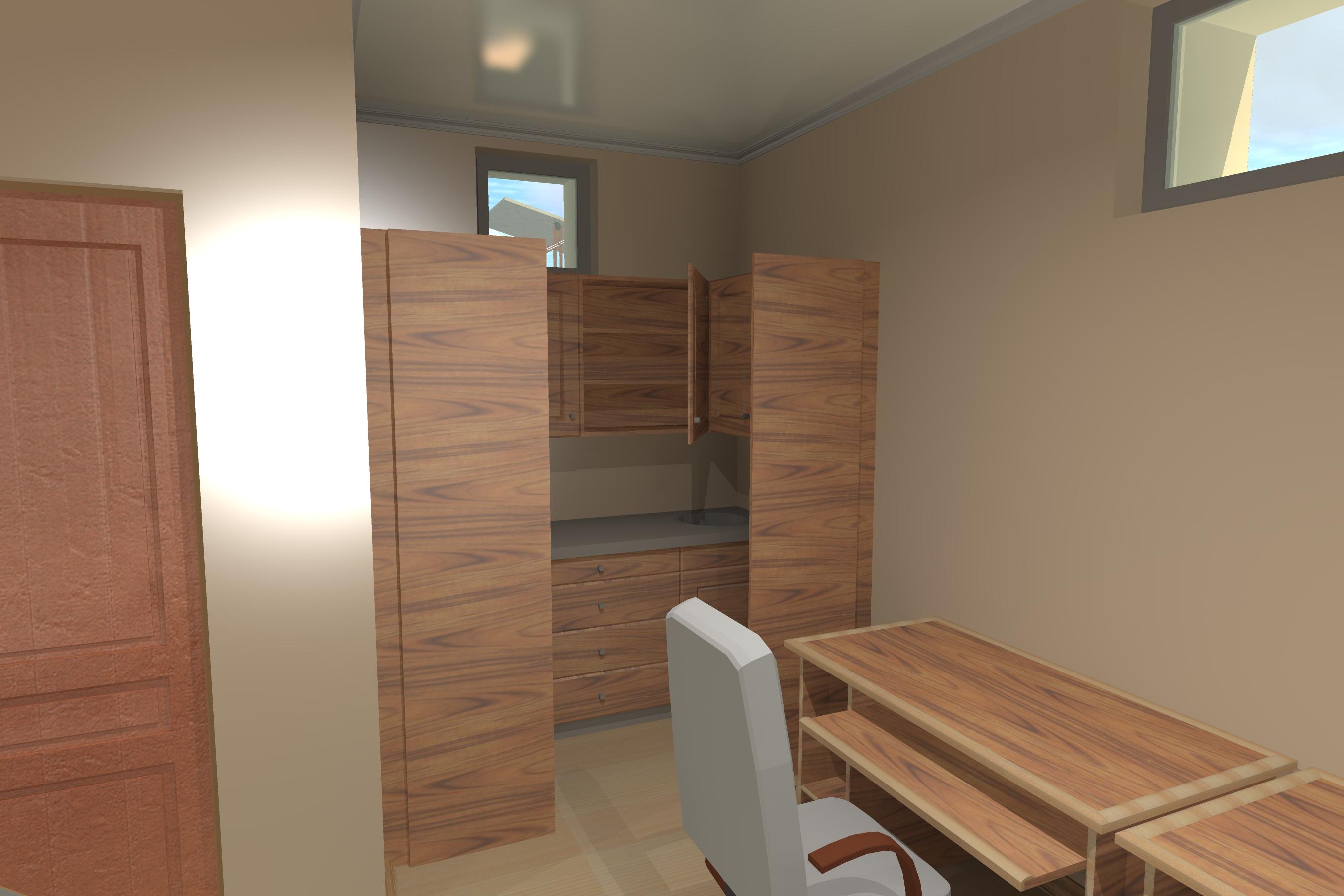 Интерьер с расположением мебели небольшого офиса -2