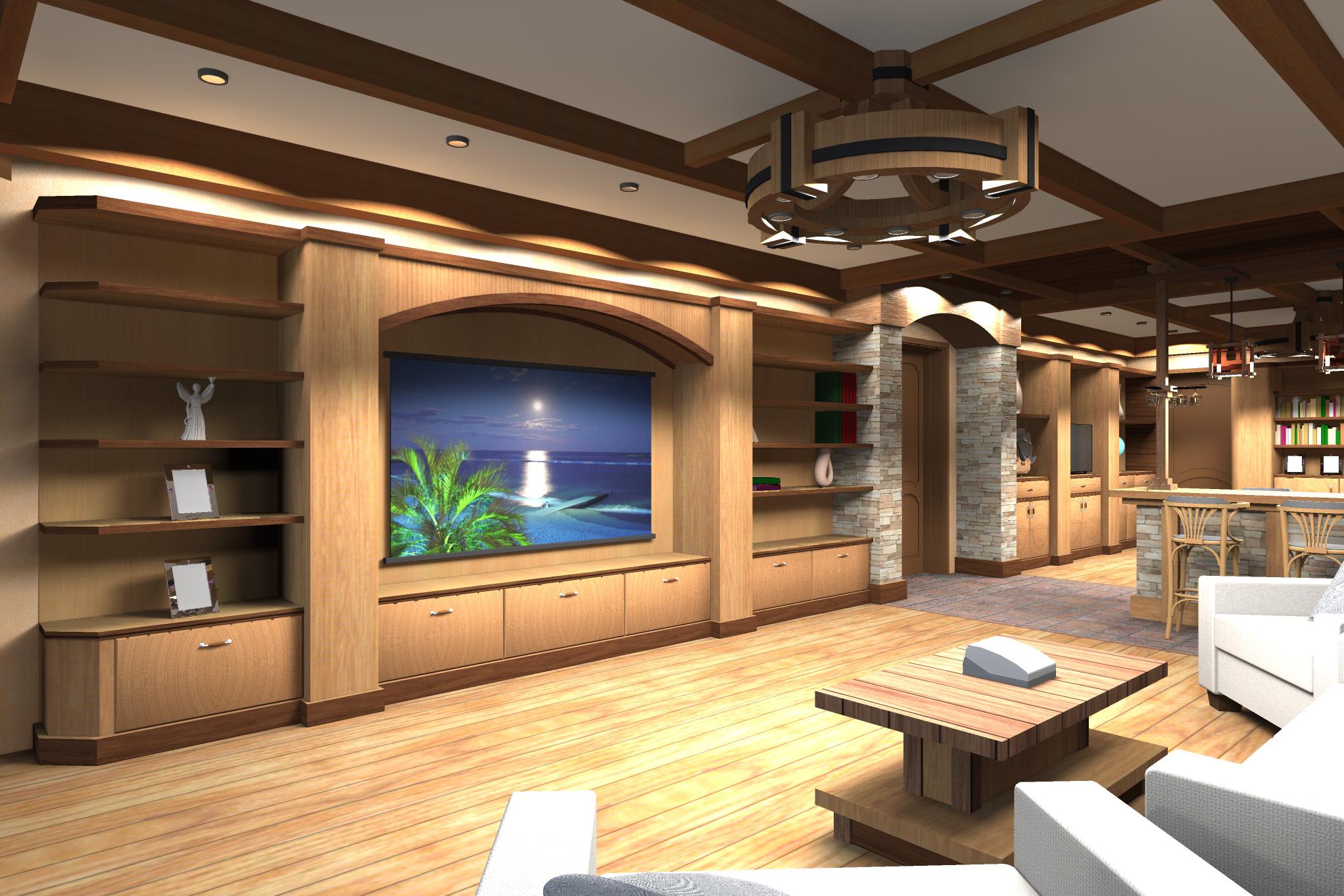 Дизайн комнаты отдыха в цокольном этаже - 5