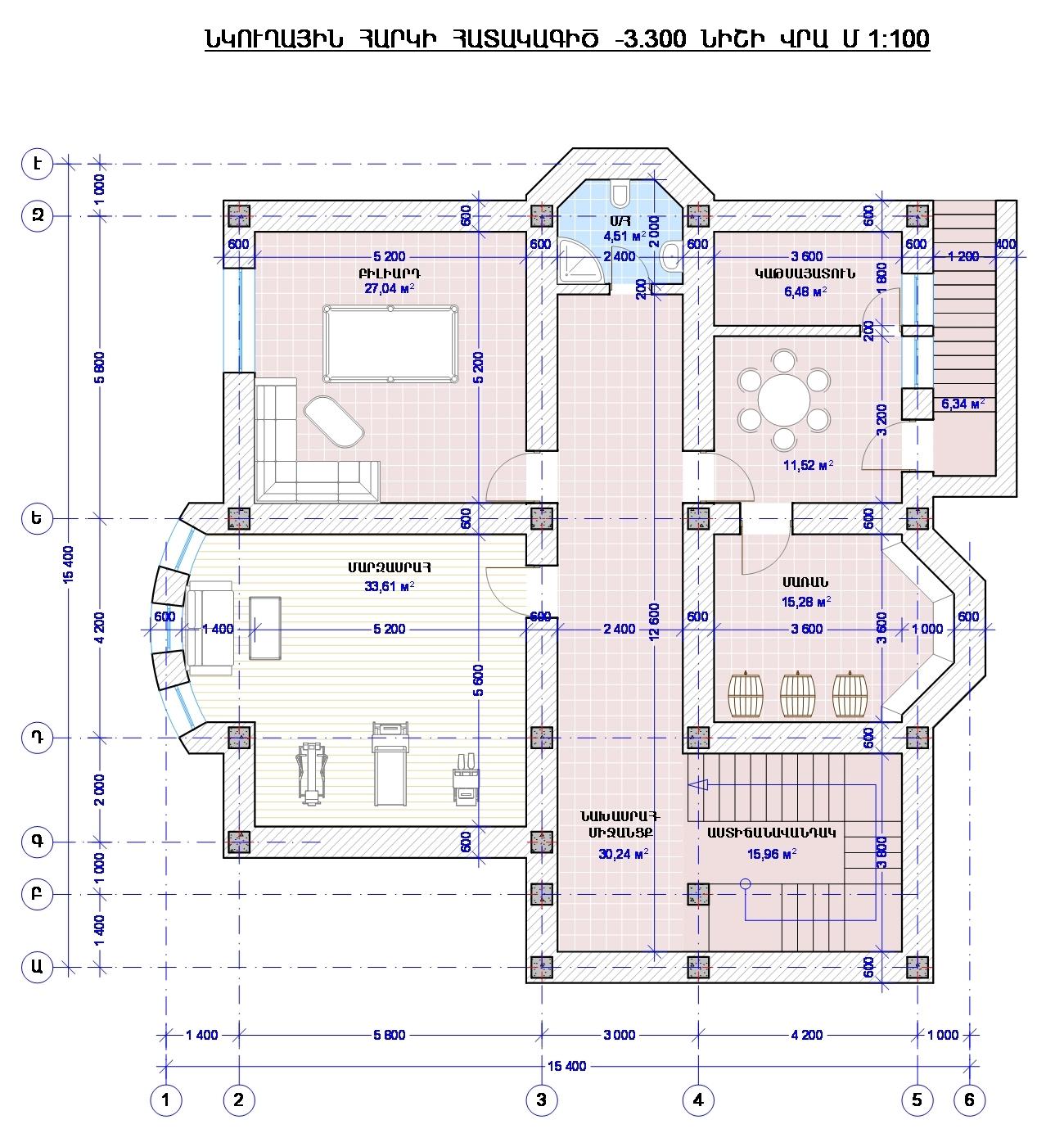 Проект двухэтажного дома с сауной, беседкой, зона барбекю и бассейном - план подвала
