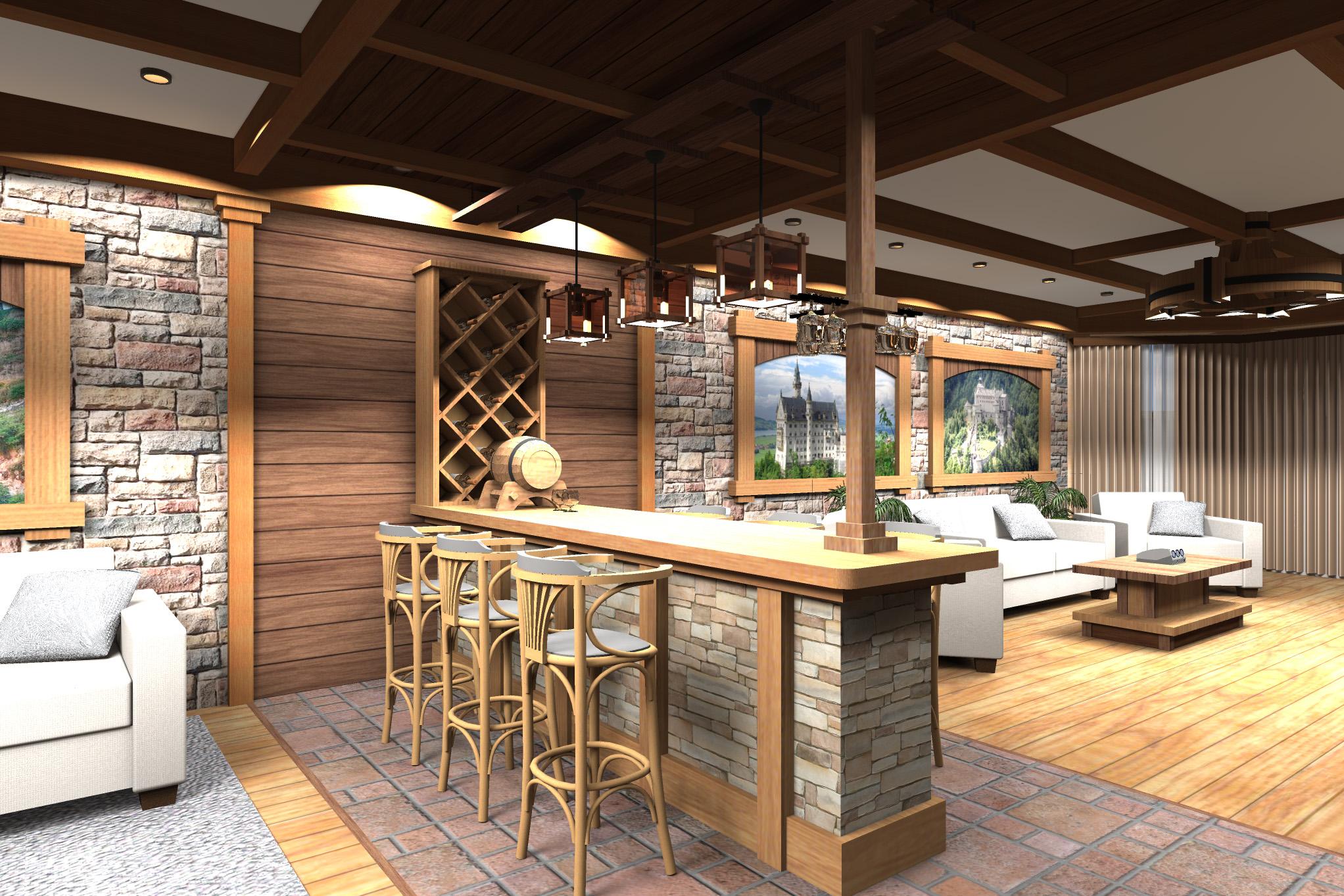 Дизайн комнаты отдыха в цокольном этаже - 7