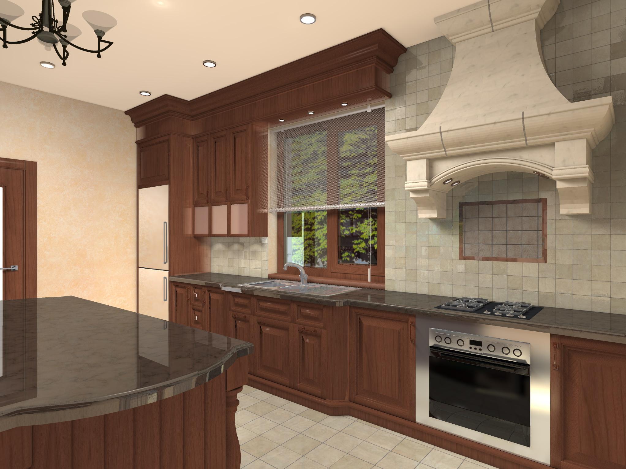 Кухня в частном доме, вариант 1-2