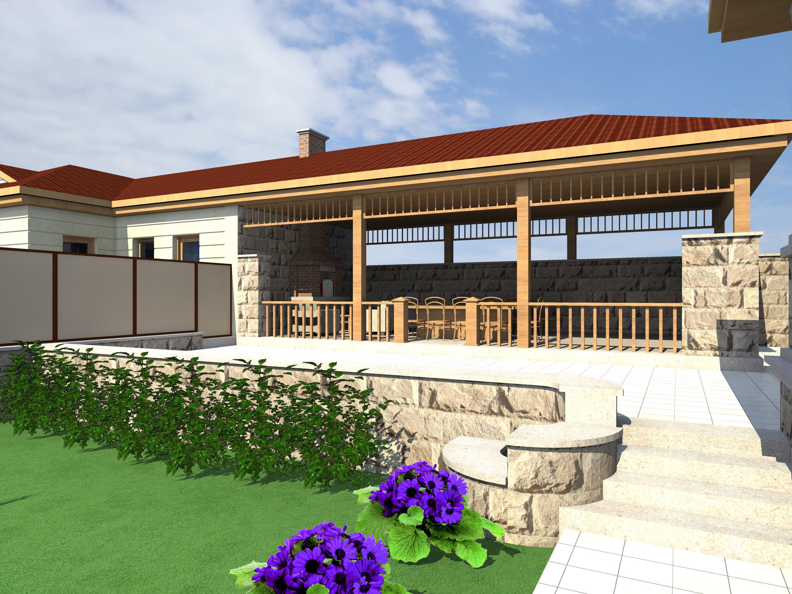 Проект двухэтажного дома с сауной, беседкой, зона барбекю и бассейном - 2