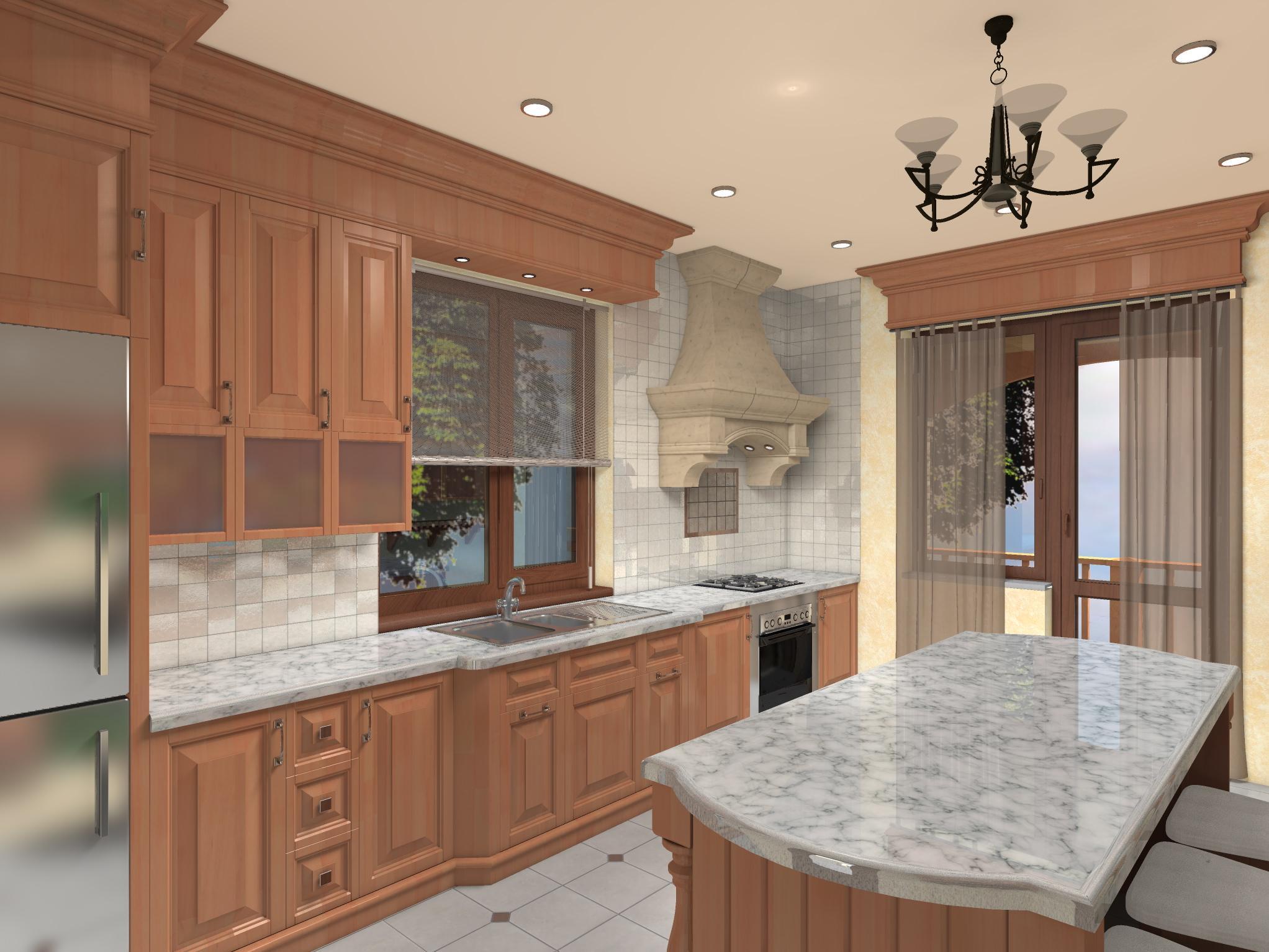 Кухня в частном доме, вариант 2-1