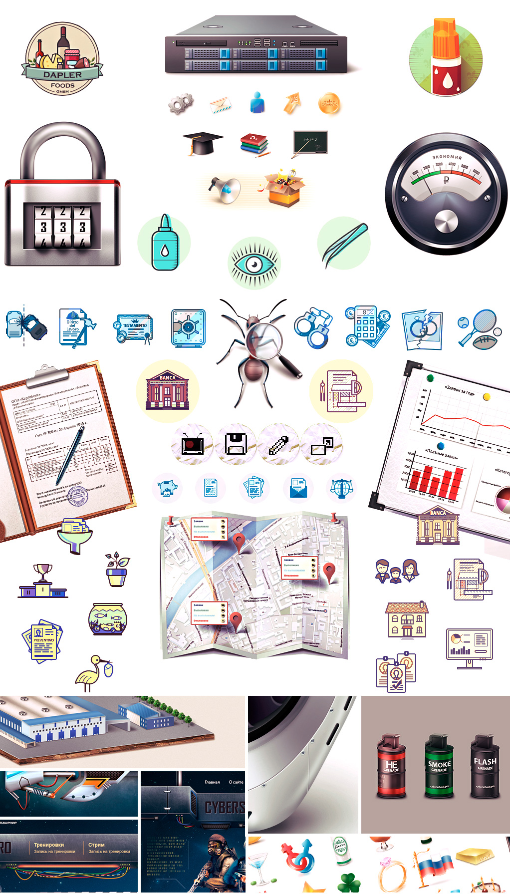 Сборник иконок сделанных в разных стилях