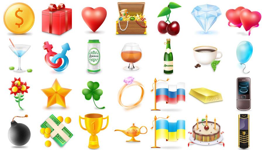 Иконки-подарки для новой социальной сети