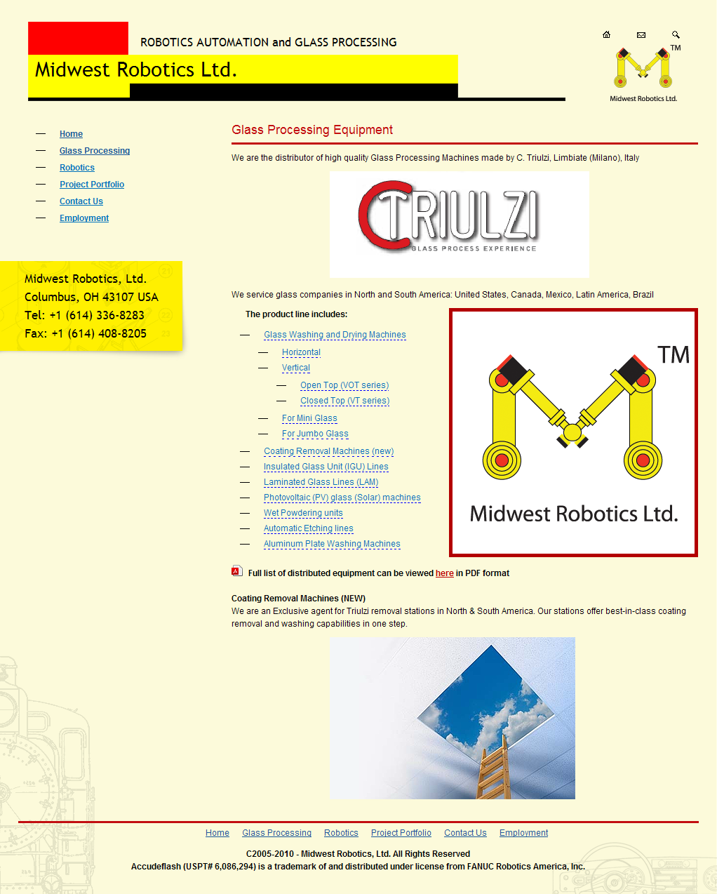 Midwest robotics. Glass processing page