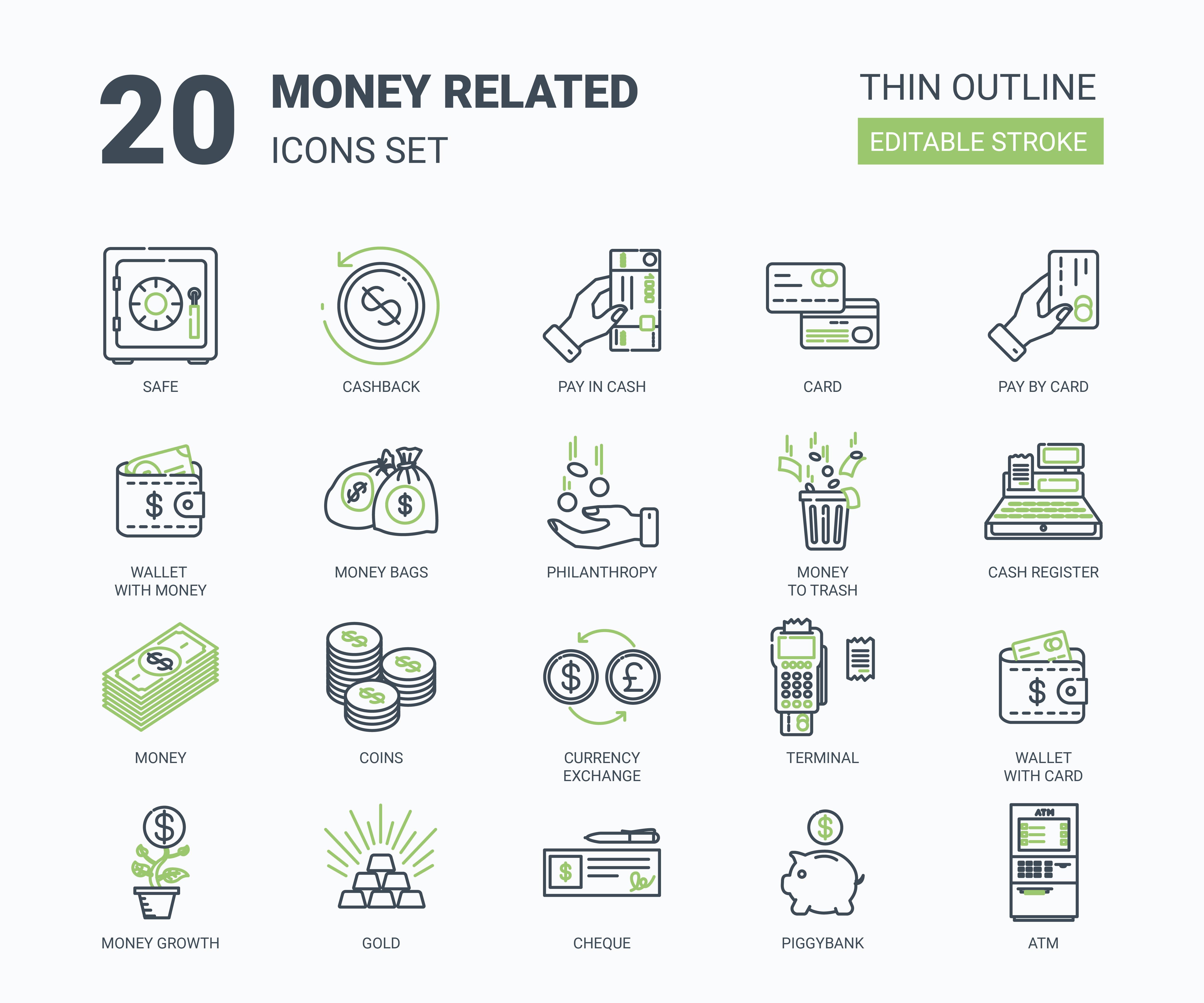 "Набор иконок ""Money related icons set"""