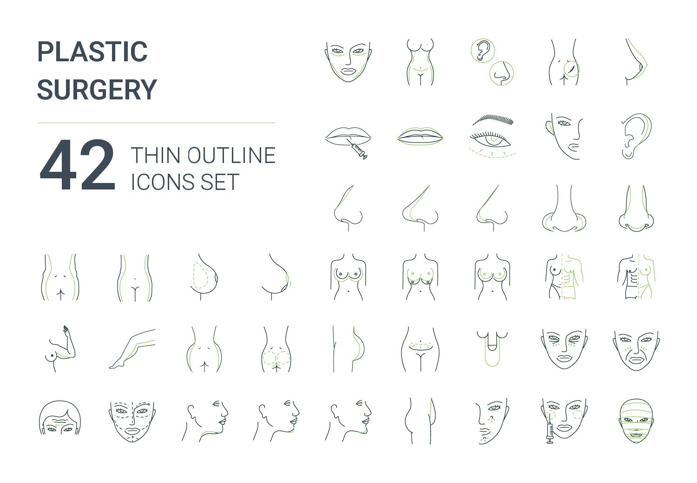 """Набор иконок """"Plastic surgery icons set"""""""