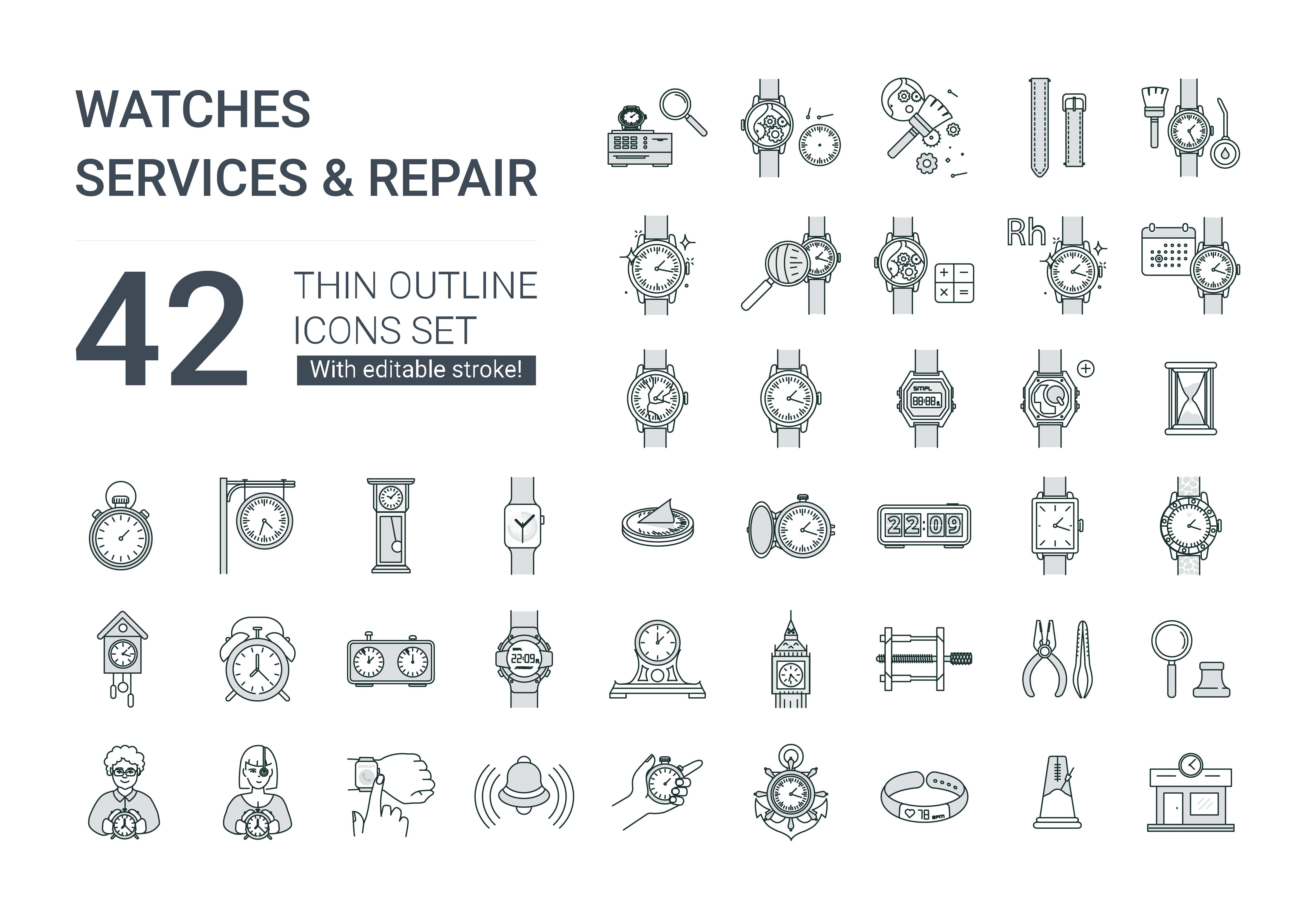 "Набор иконок ""Watches services & repair icons set"""