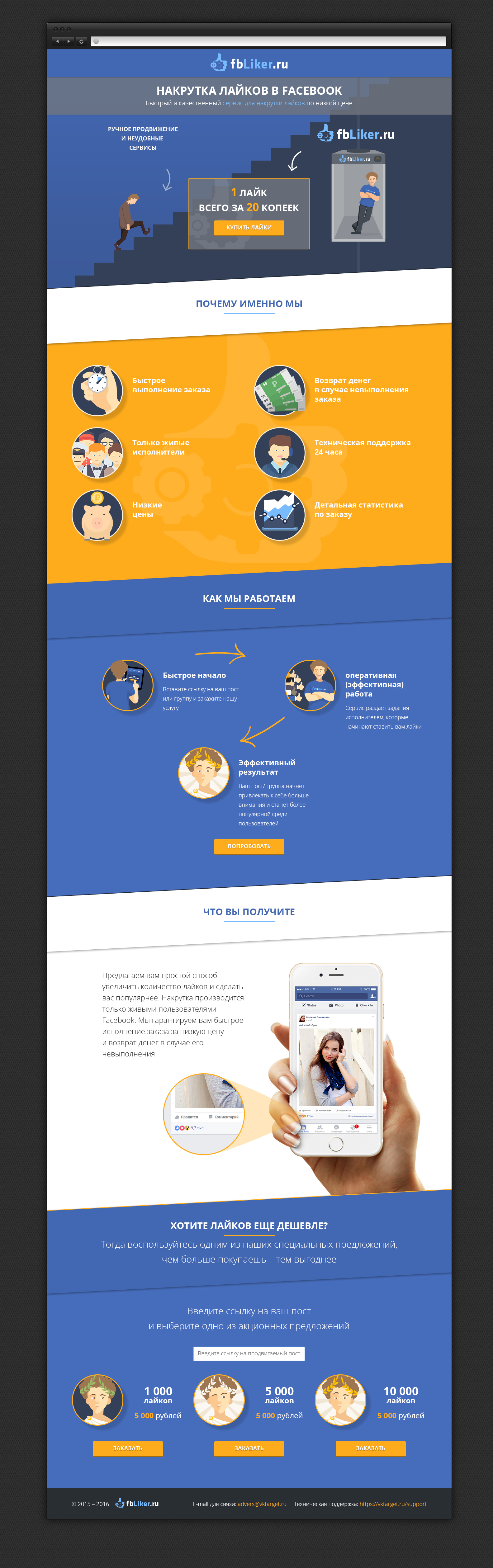 Дизайн лендинга для SMM сервиса FbLiker.ru