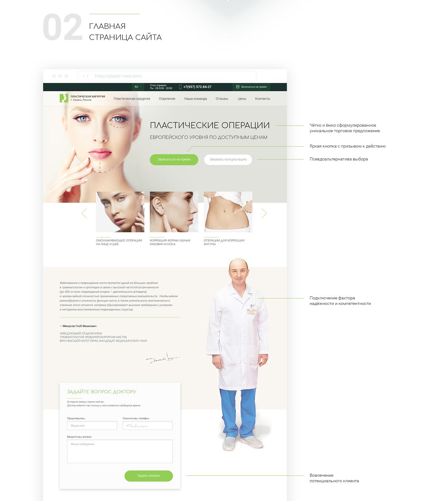 Адаптивный дизайн для сайта отделения пластической микрохирургии
