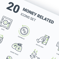 "Набор иконок ""Money related icons set"""