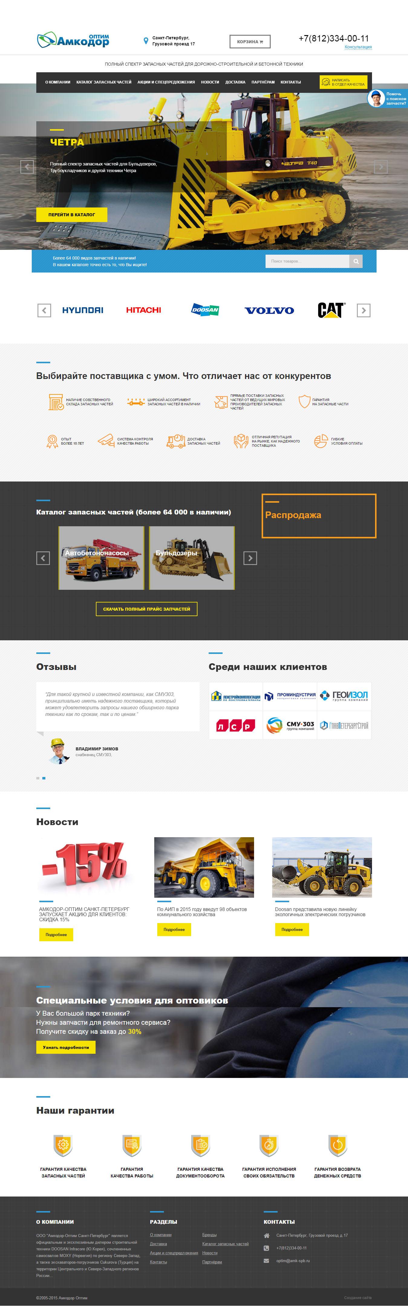 Интернет-магазин Амкодор Оптим - доработка шаблона, интеграция с Wordpress