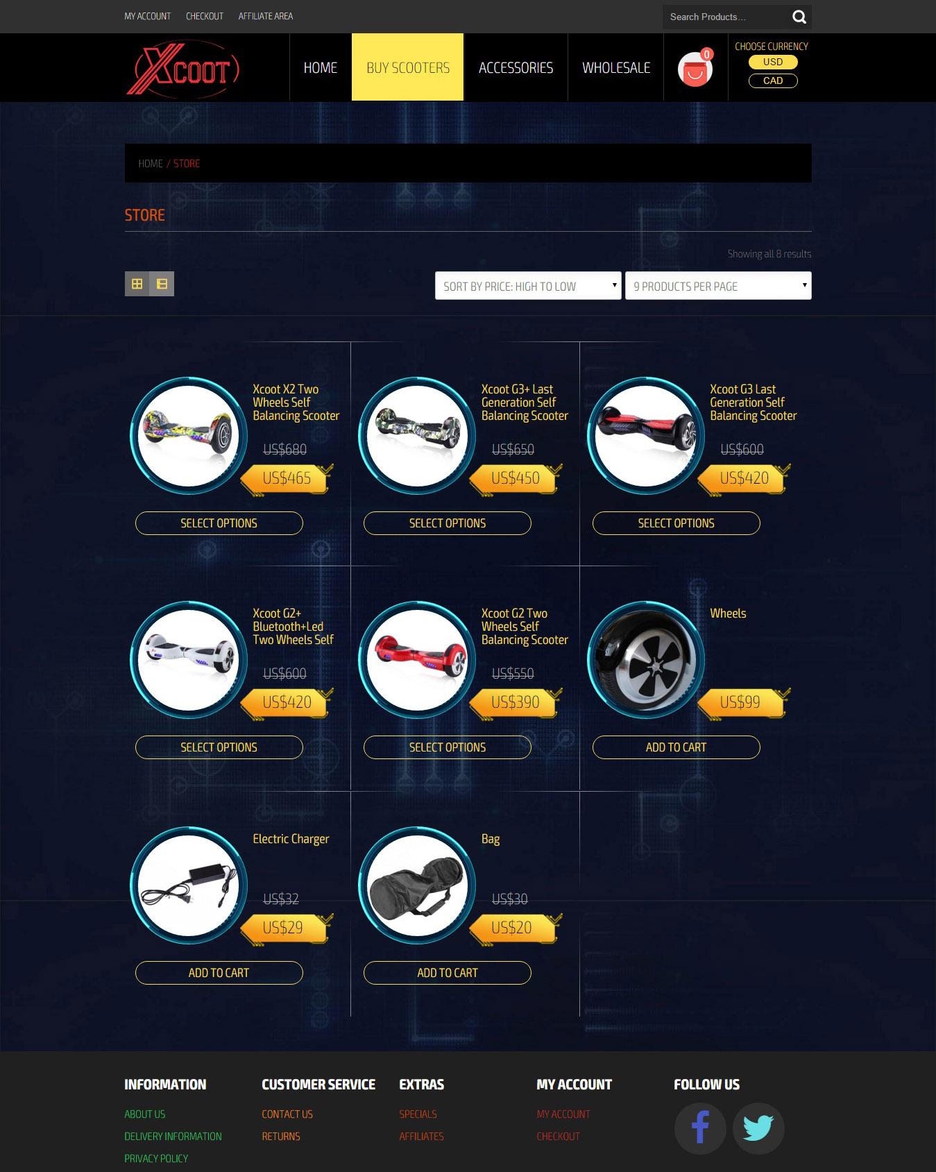 Интернет-магазин xcoot.com - верстка, интеграция с Wordpress