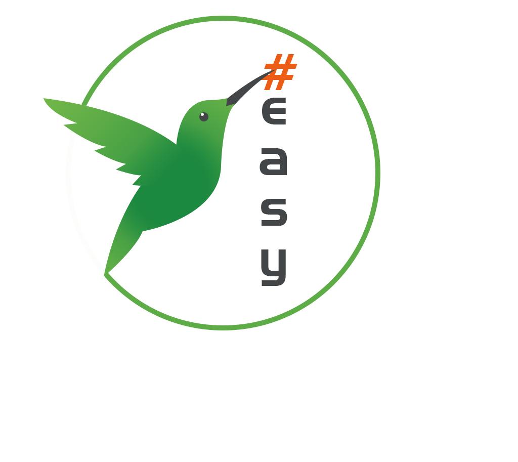 Разработка логотипа в виде хэштега #easy с зеленой колибри  фото f_5995d5118888e995.jpg