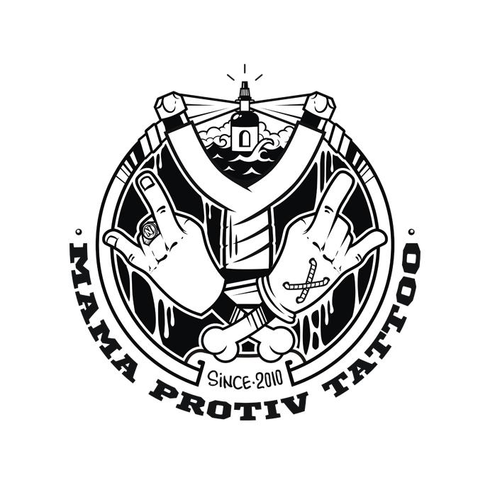 Логотип тату студии - Mama Protiv Tattoo