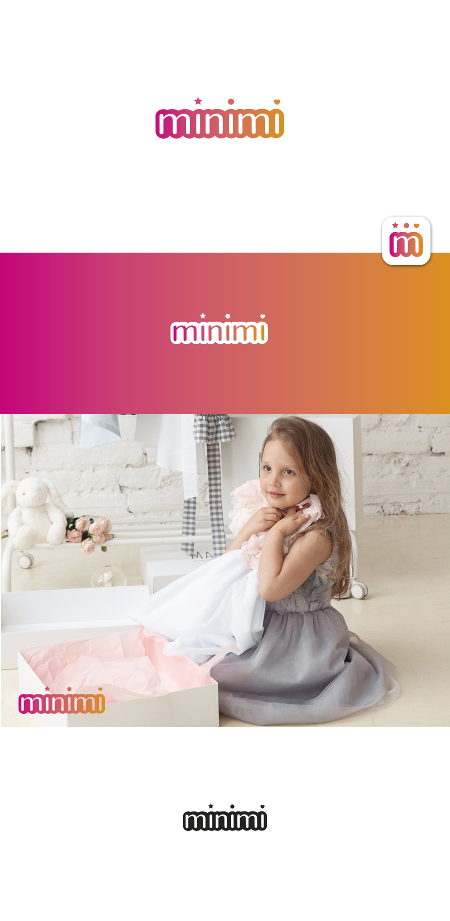 Цель: Разработать логотип детской дизайнерской одежды Мinimi фото f_2175b1f960906475.jpg