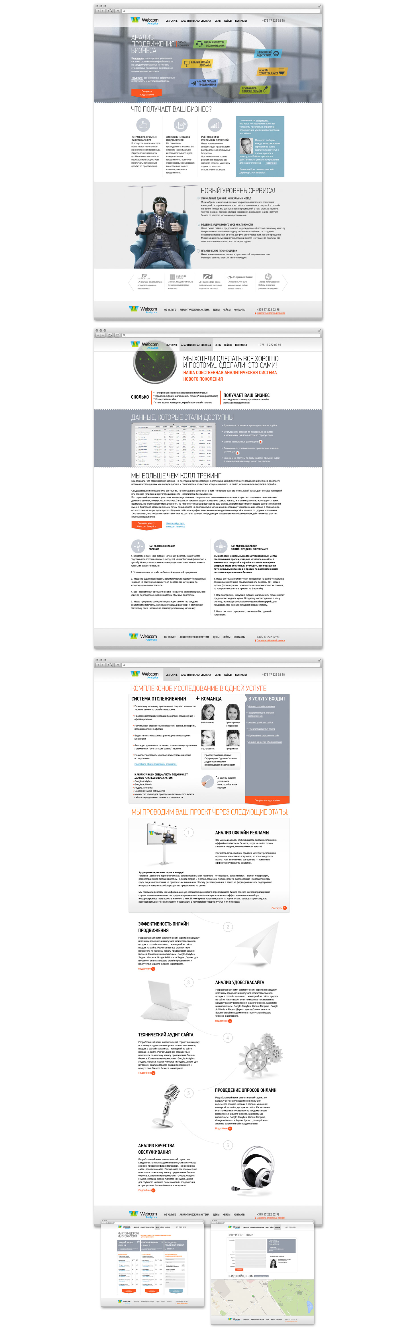 Вебком Аналитикс. Дизайн сайта для аналитического сервиса.