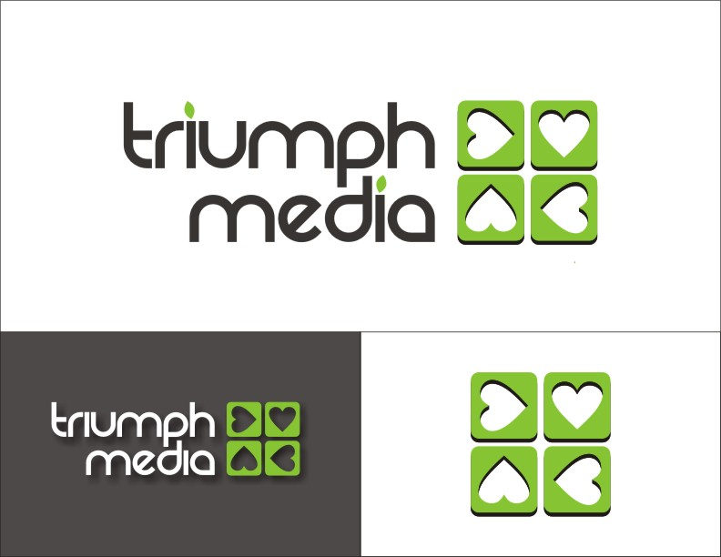 Разработка логотипа  TRIUMPH MEDIA с изображением клевера фото f_50733cda135ec.jpg
