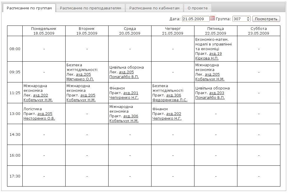 Веб-интерфейс к расписанию института