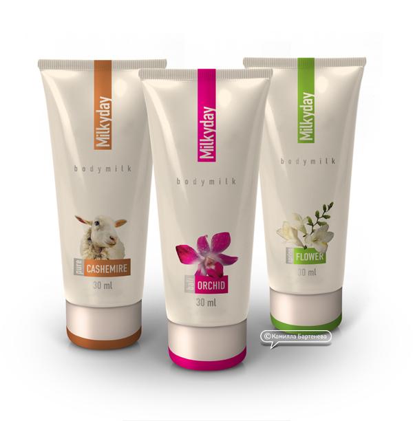 TM и упаковка молочка для тела MilkyDay