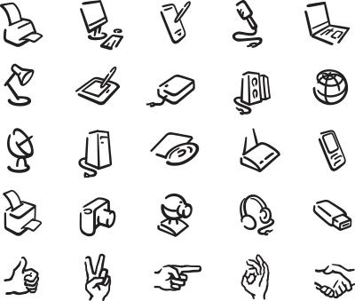 icons of office equipment (Adobe illustrator)