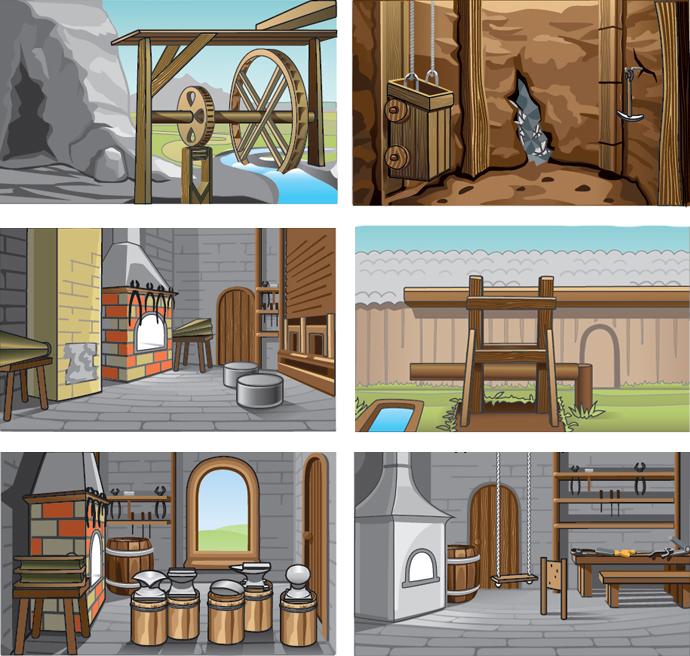локации для игры (Adobe illustrator)