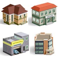 Векторные иконки зданий для строительного сайта (Adobe illustrator)