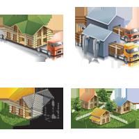 Векторные Иконки по клееному брусу (Adobe illustrator)