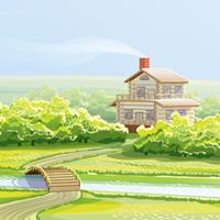 домик на природе (Adobe illustrator)