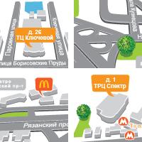 схемы проезда до магазинов (Adobe illustrator)