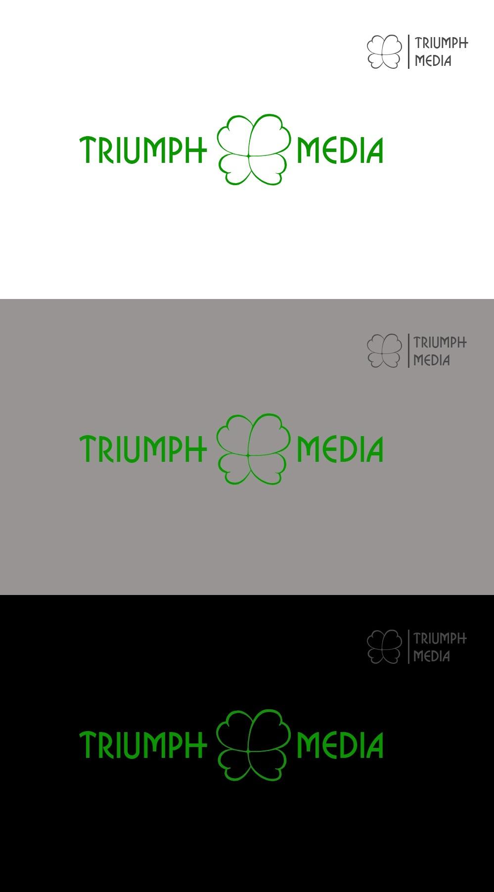 Разработка логотипа  TRIUMPH MEDIA с изображением клевера фото f_507318c5c1549.jpg