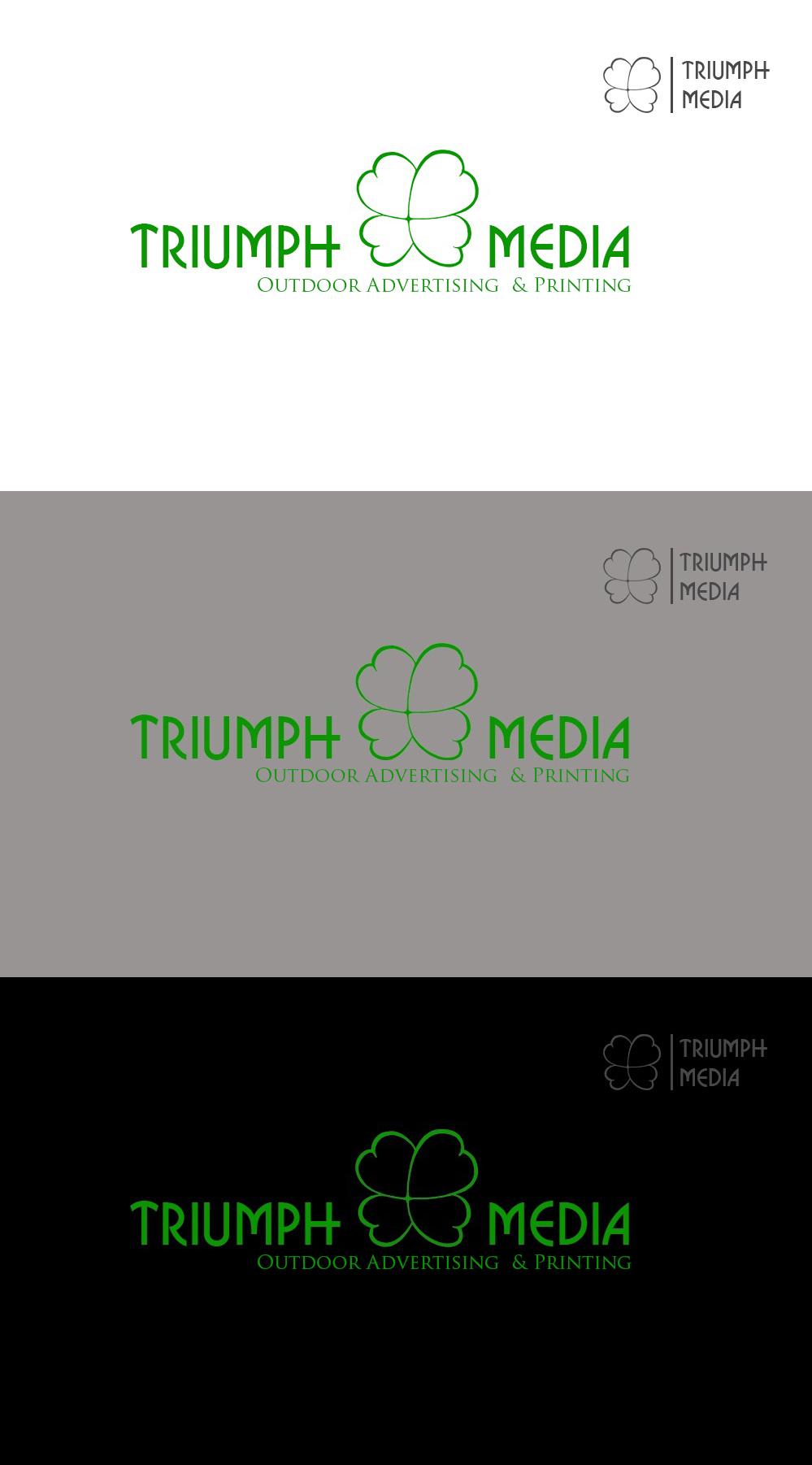 Разработка логотипа  TRIUMPH MEDIA с изображением клевера фото f_507318ca36747.jpg