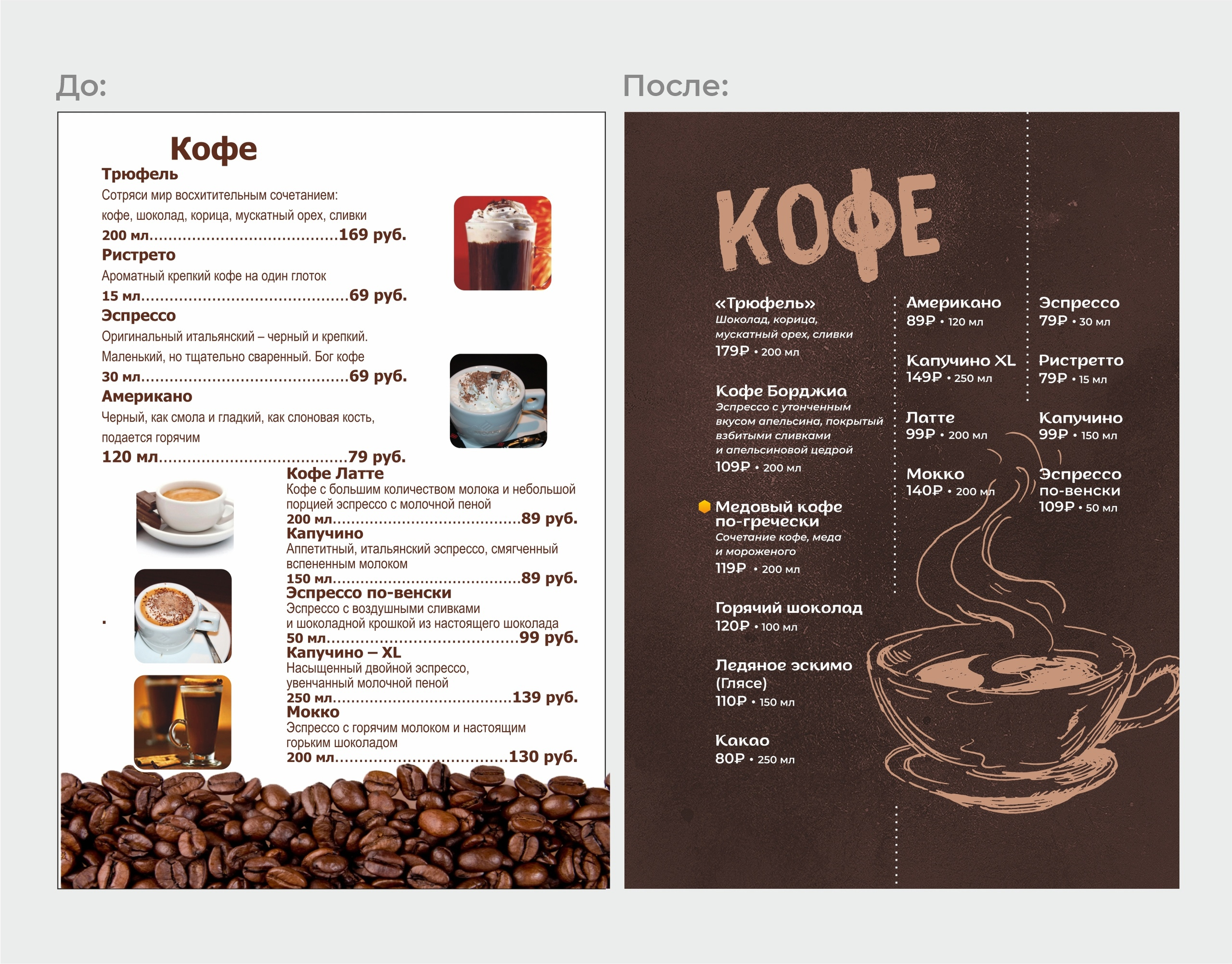 Дизайн меню.