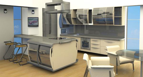 Эскиз помещения кухни-столовой