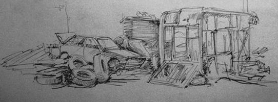 Автокладбище (карандаш,бумага)