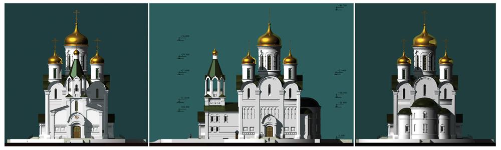 Эскиз храма,  фасады