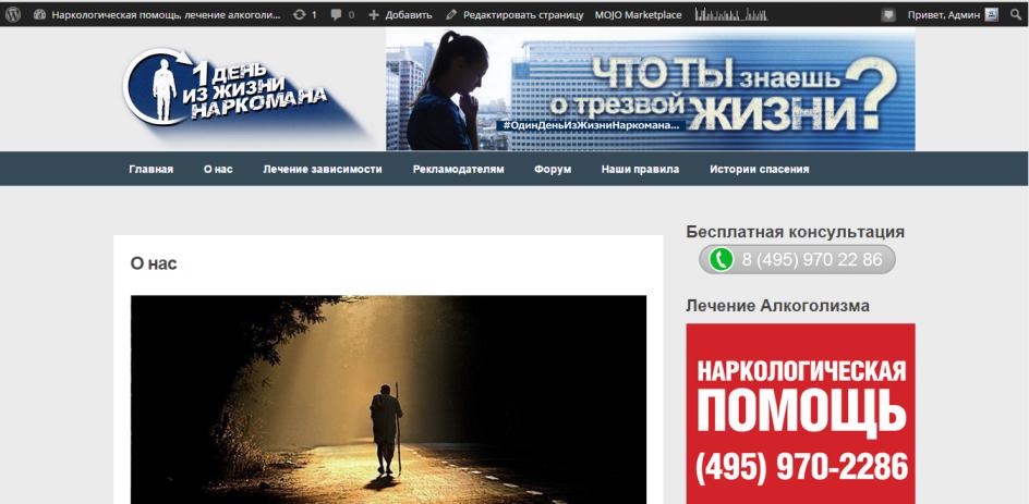 Наполнение сайта 1day-narko.ru/ (WordPress)