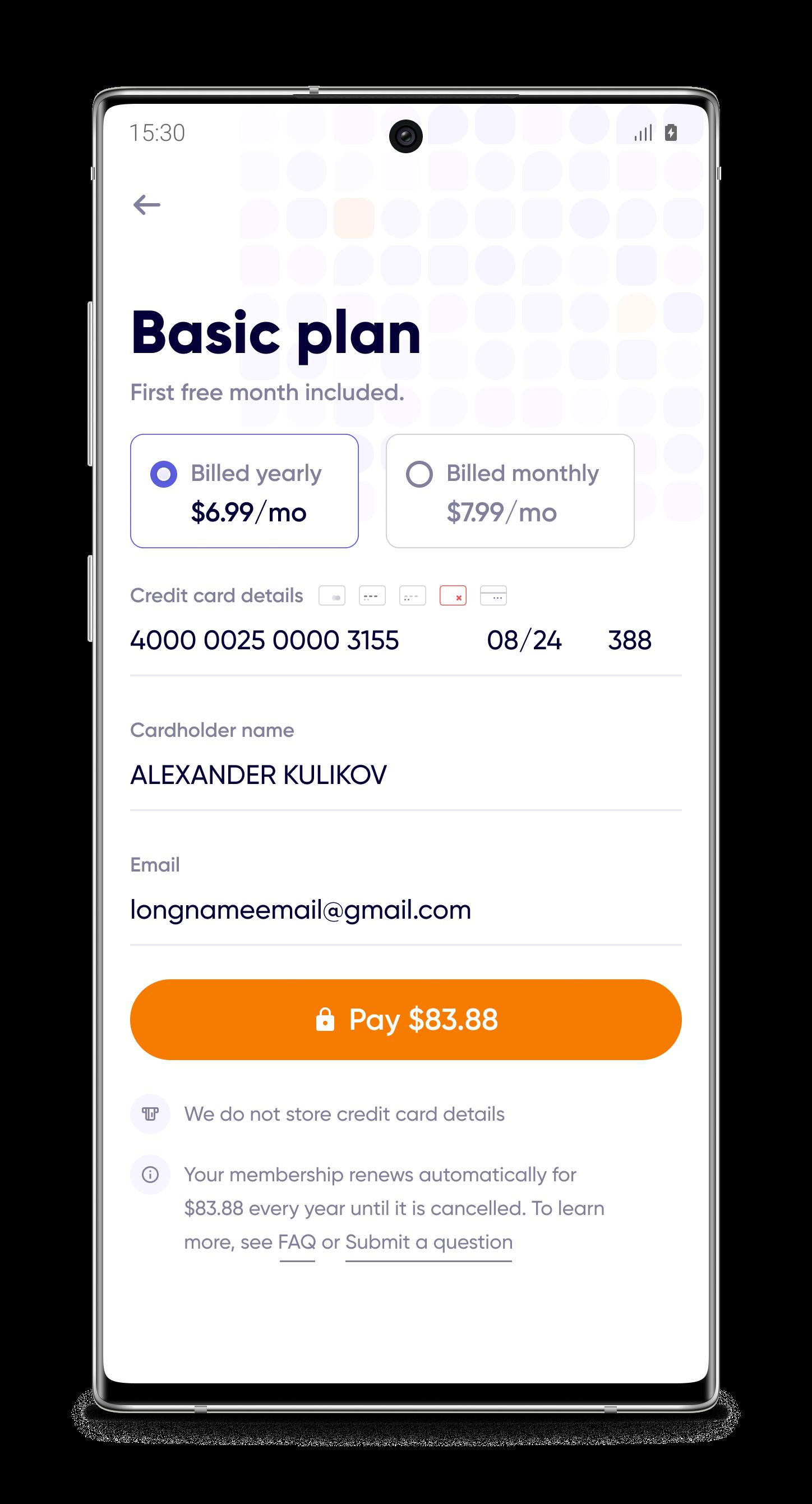 Страница оплаты (mobile, white)