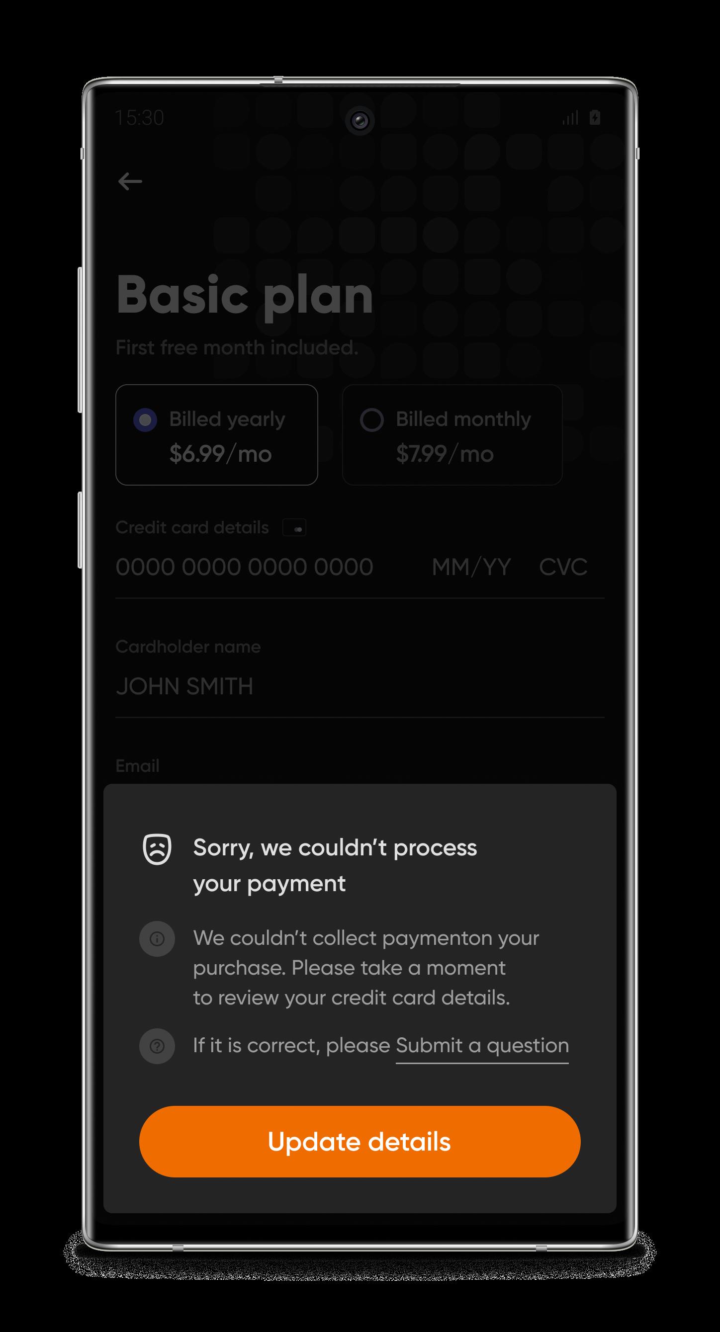 Страница оплаты (Mobile)