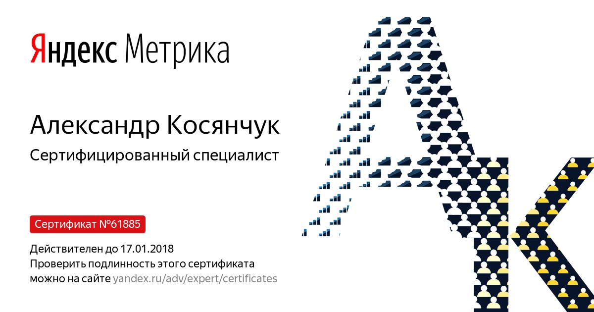 """Сертифицированные специалист по """"Яндекс.Метрике"""" - 2016-17 год"""