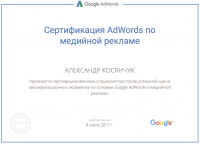 Сертификат специалиста по медийной рекламе AdWords – 2016-17 год