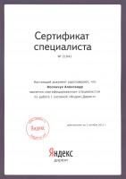 """Сертификат специалиста по работе с системой """"Яндекс.Директ"""" - 2012 год"""