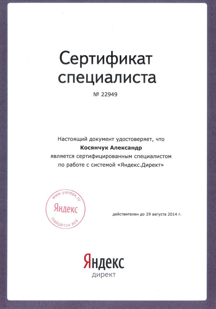 """Сертификат специалиста по работе с системой """"Яндекс.Директ"""" - 2013 год"""