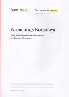 """Сертифицированные специалист по """"Яндекс.Метрике"""" - 2014 год"""