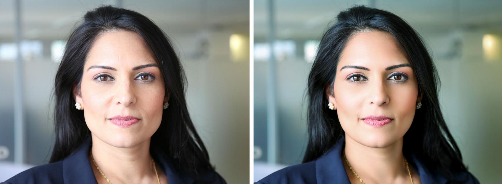 Портретная ретушь (до и после обработки)