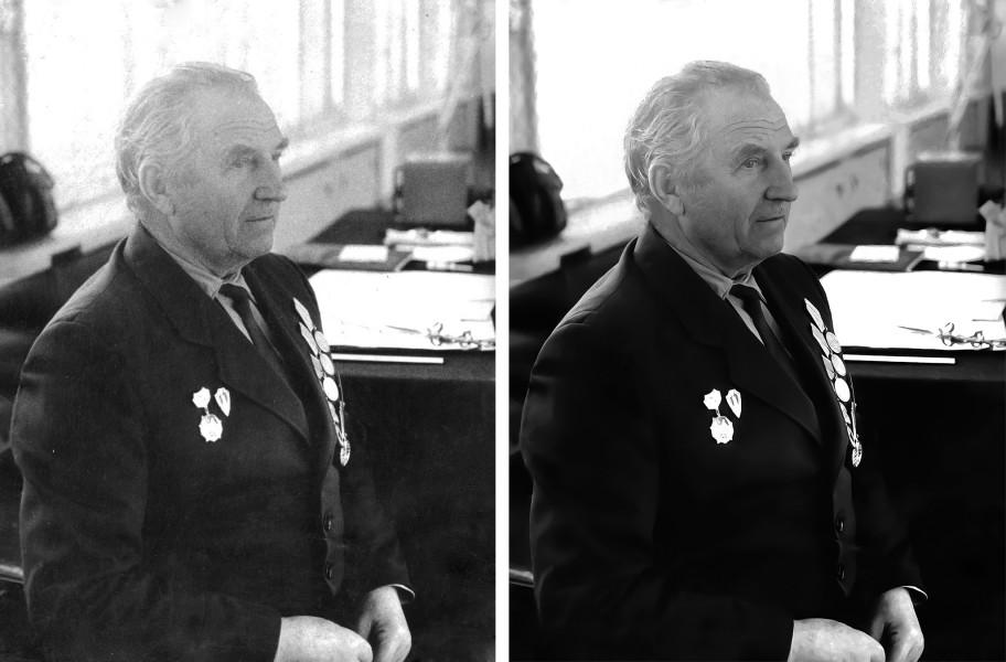 Реставрация фото ветерана (до и после обработки)