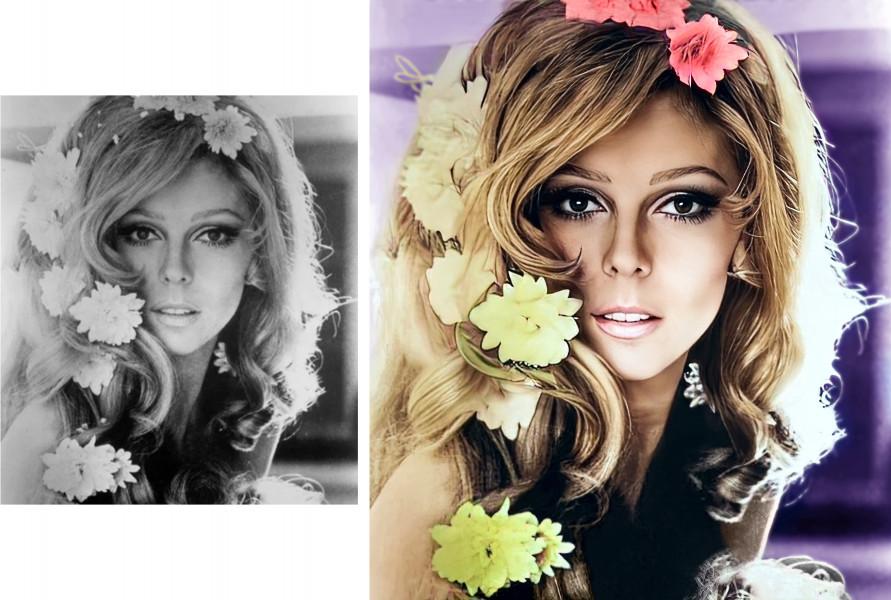 Колоризация фото девушки из середины XX века (до и после обработки)