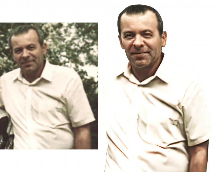 Ретушь фото мужчины для памятника (до и после обработки)