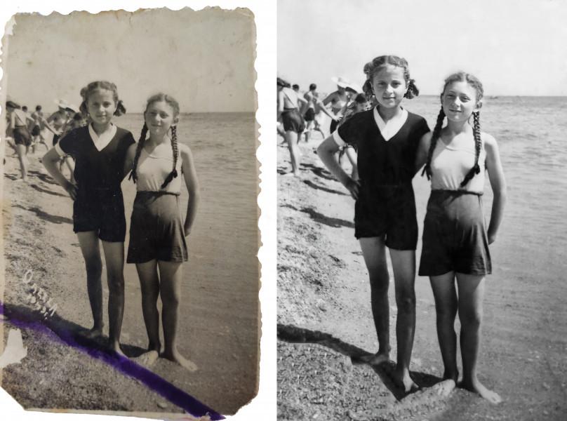 Реставрация фото 1949 года (до и после обработки)